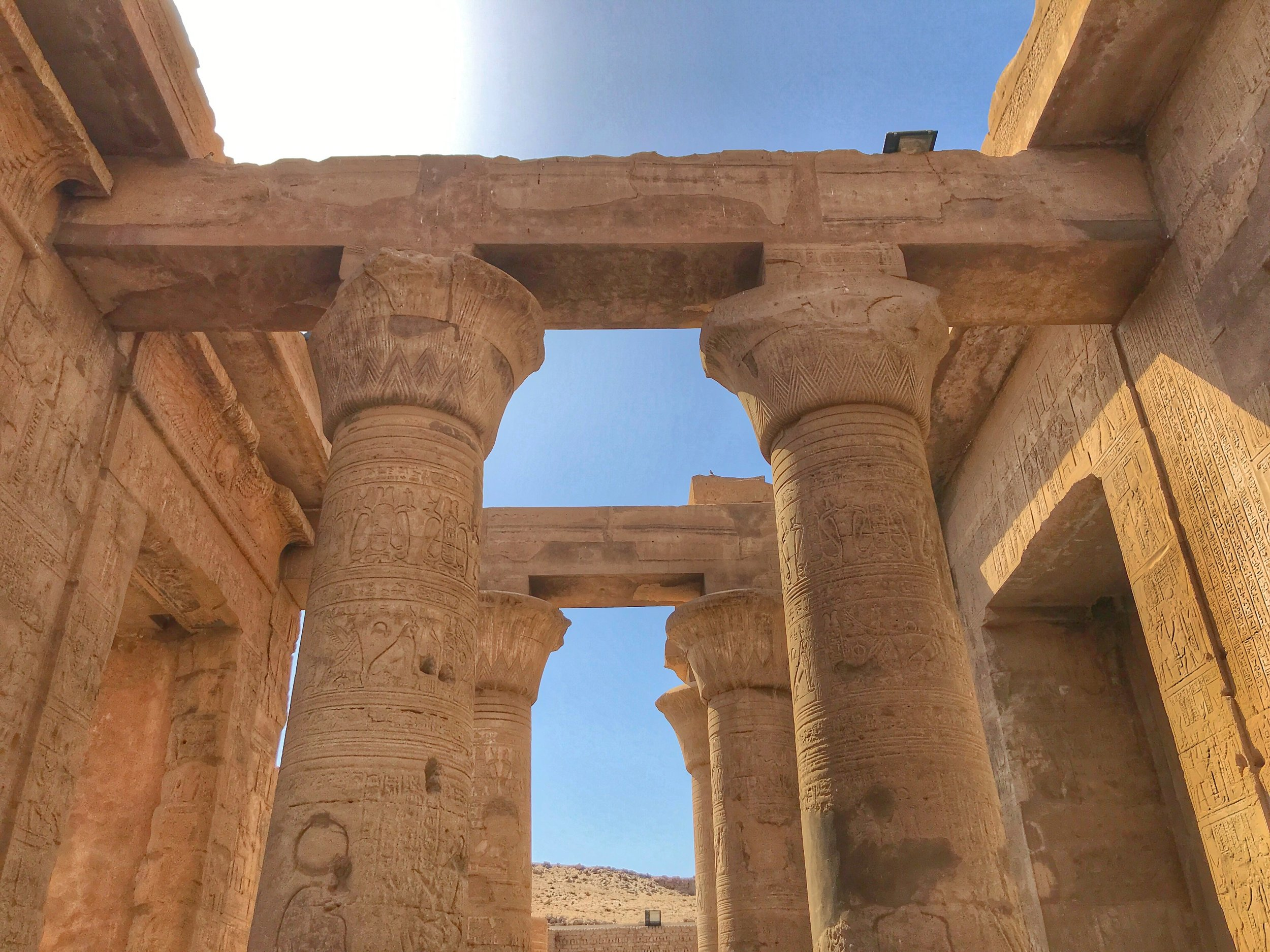 Kom Ombo's distinctive floral flourishes at the top of the columns are what first appealed to Wally