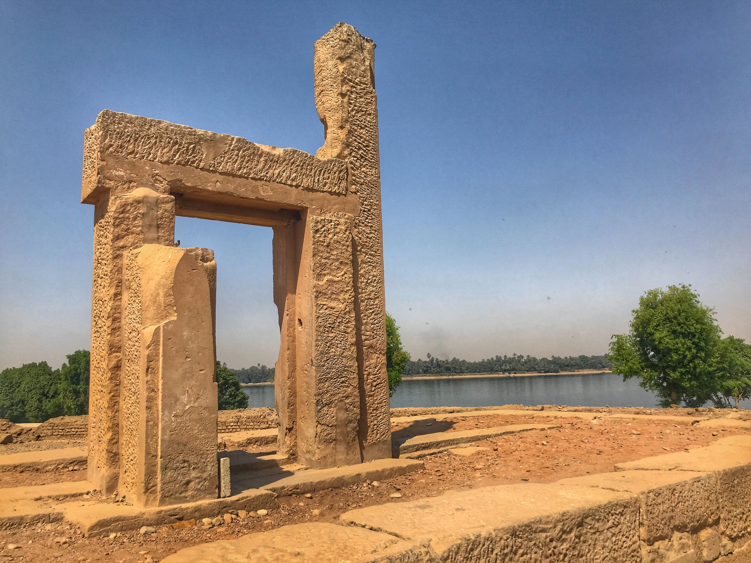 The temple stands on the banks of the Nile, and teams are now working to protect it from erosion