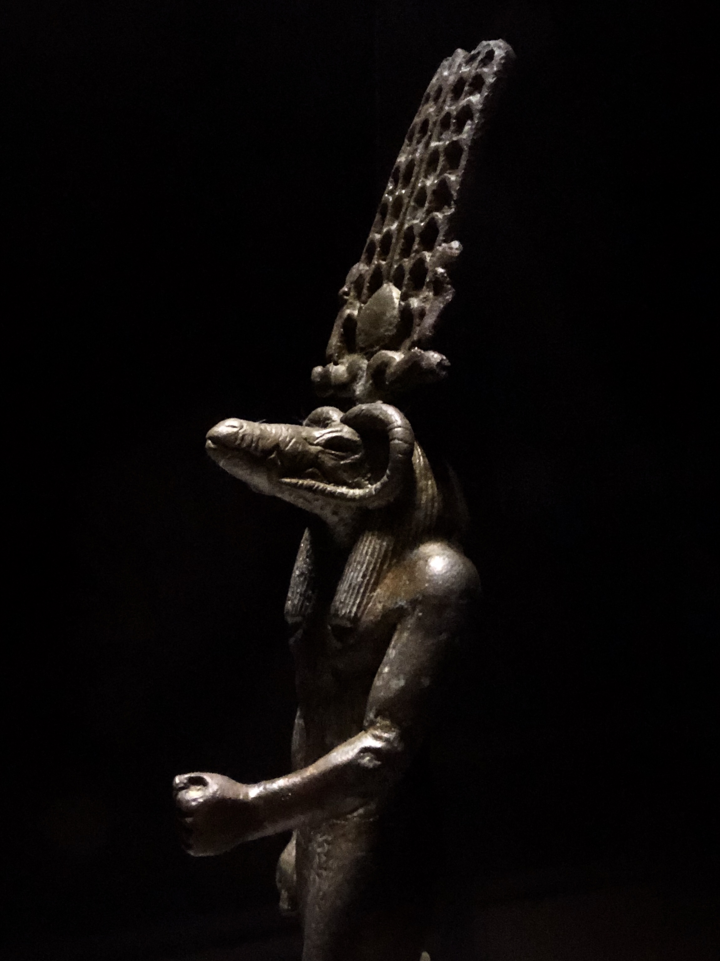 Sobek was often depicted as having a crocodile head, ram's horns and an elaborate crown, as seen on this statue in the Crocodile Museum next to Kom Ombo
