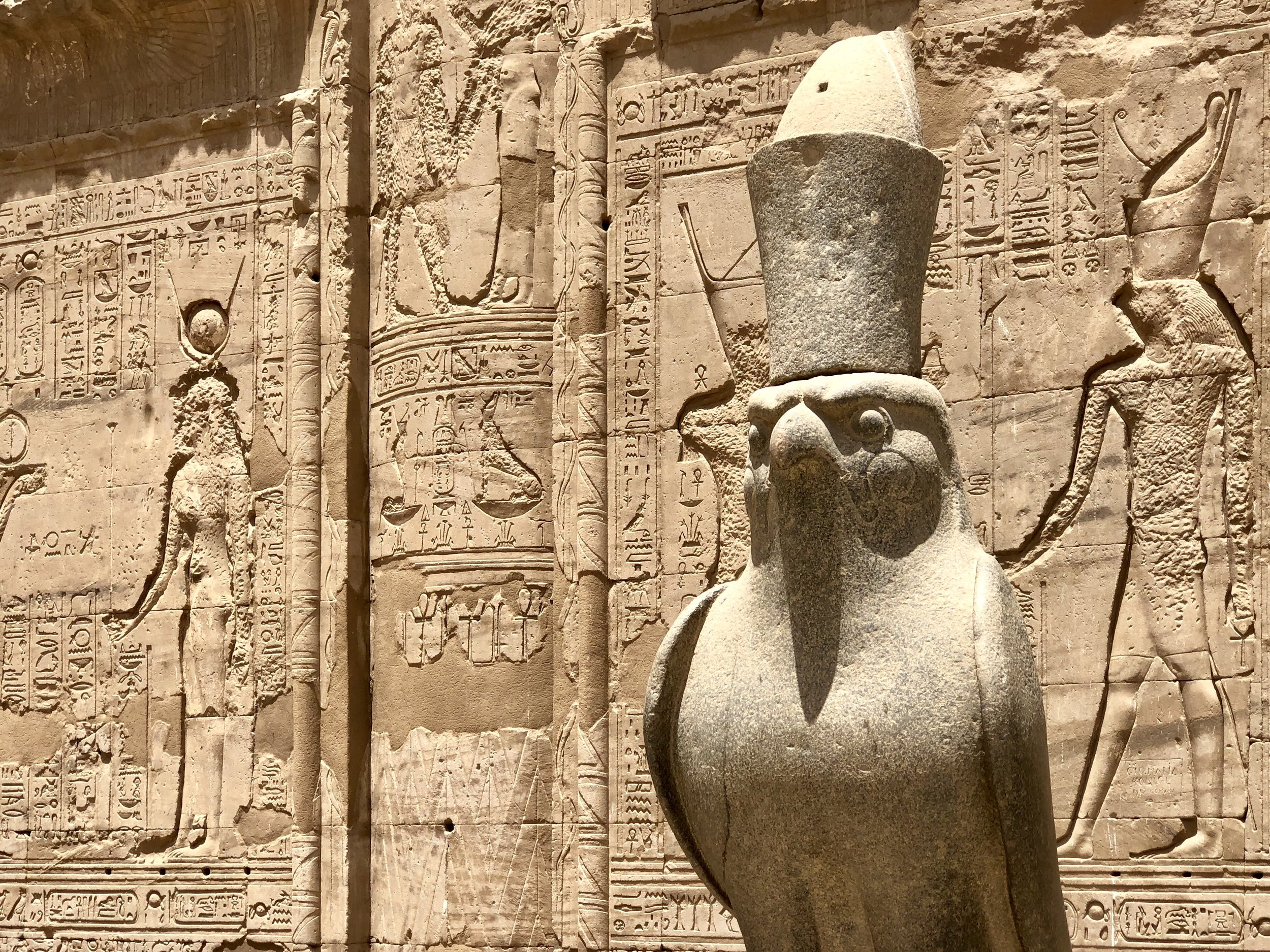 This statue of an eagle honors Horus, who is usually depicted with the bird of prey's head. Pharaohs aligned themselves with this deity