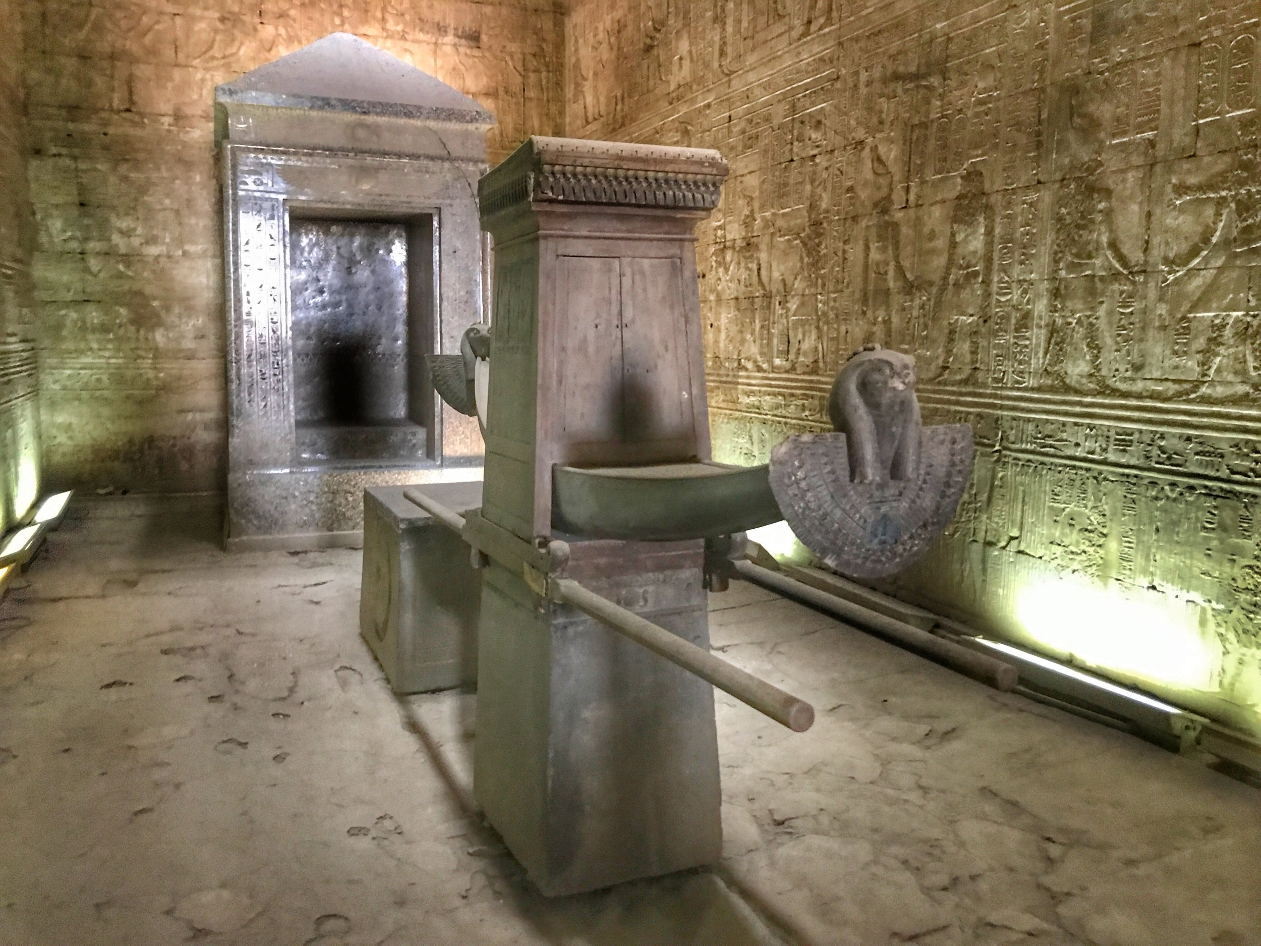 During the Festival of the Beautiful Meeting, the statue of Horus was carried out of the sanctuary on a solar boat like this to reunite with his consort, Hathor, who traveled down the Nile from Dendera