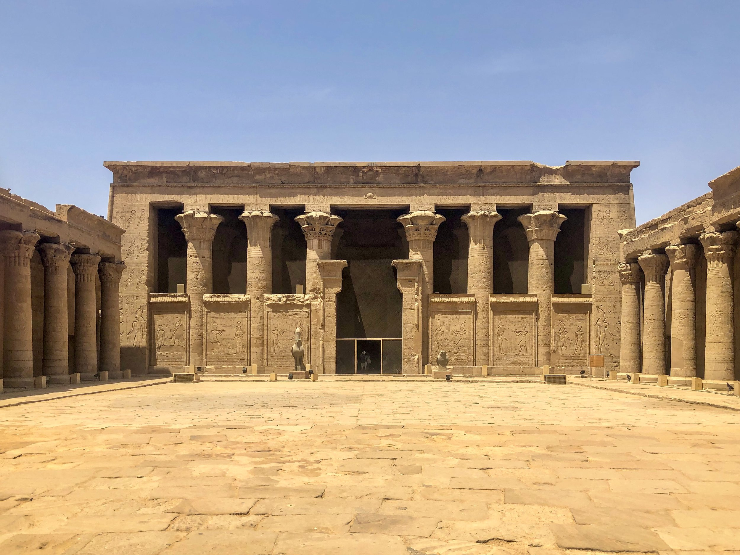 The well-preserved Temple of Horus at Edfu is in the Ptolemaic style