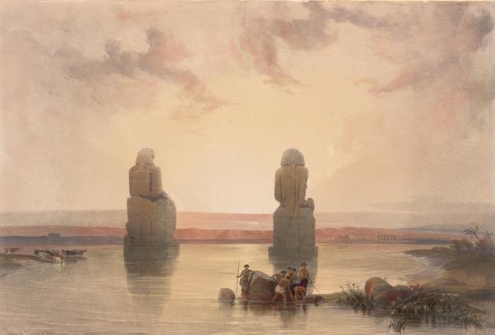 Statues of Memnon at Thebes, During the Inundation  by David Roberts, 1846-1849