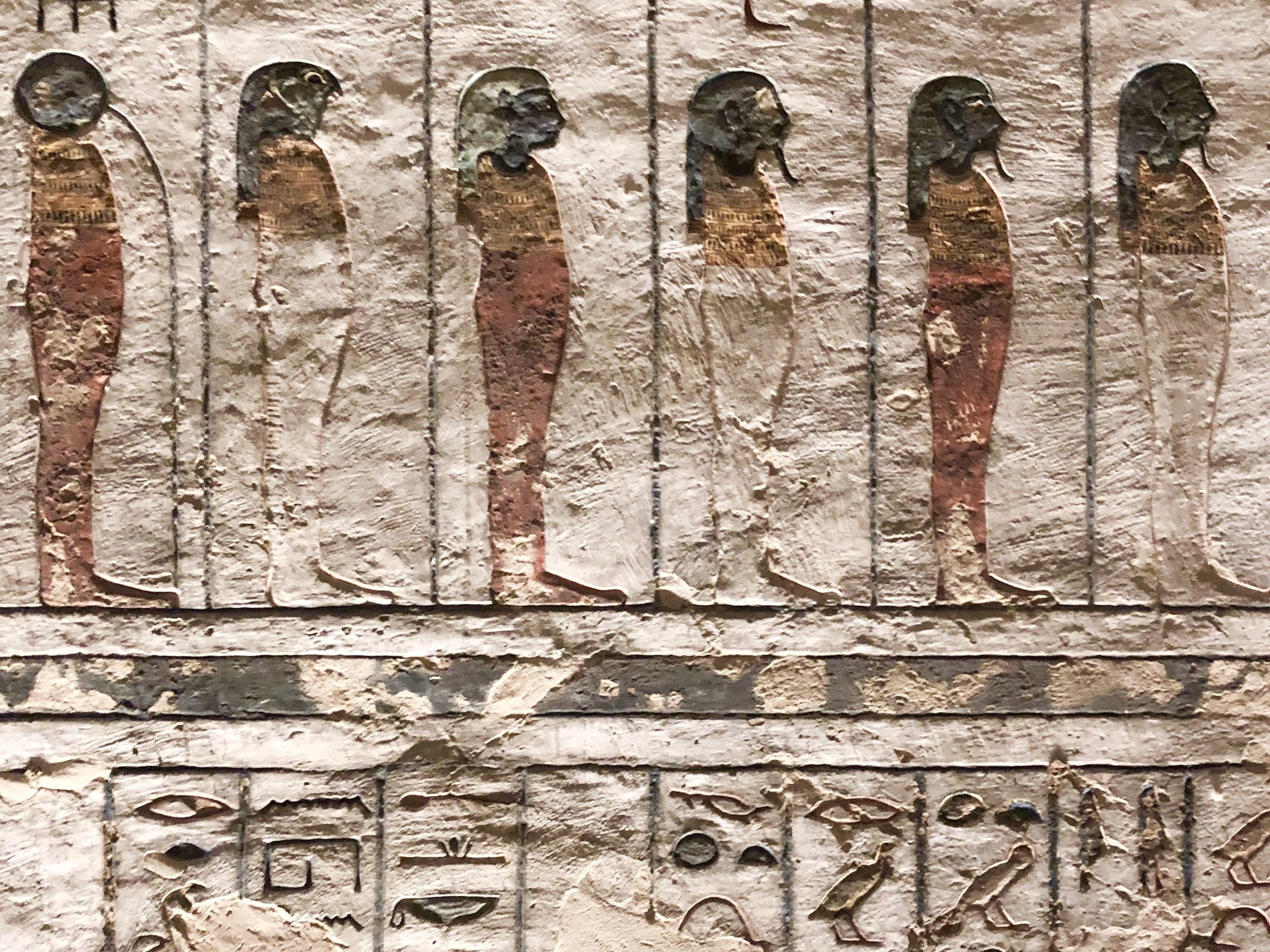 Just some of the 74 depictions of the sun god Ra seen in the tomb