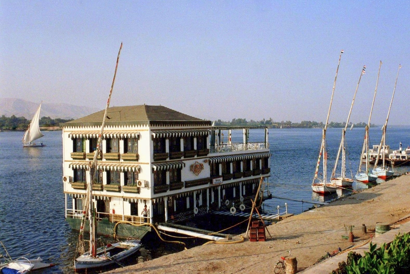 The floating restaurant Bodour, moored just upriver from the Winter Palace in Luxor, was one of their favorite places to dine, with its sumptuous Belle Epoque furnishings