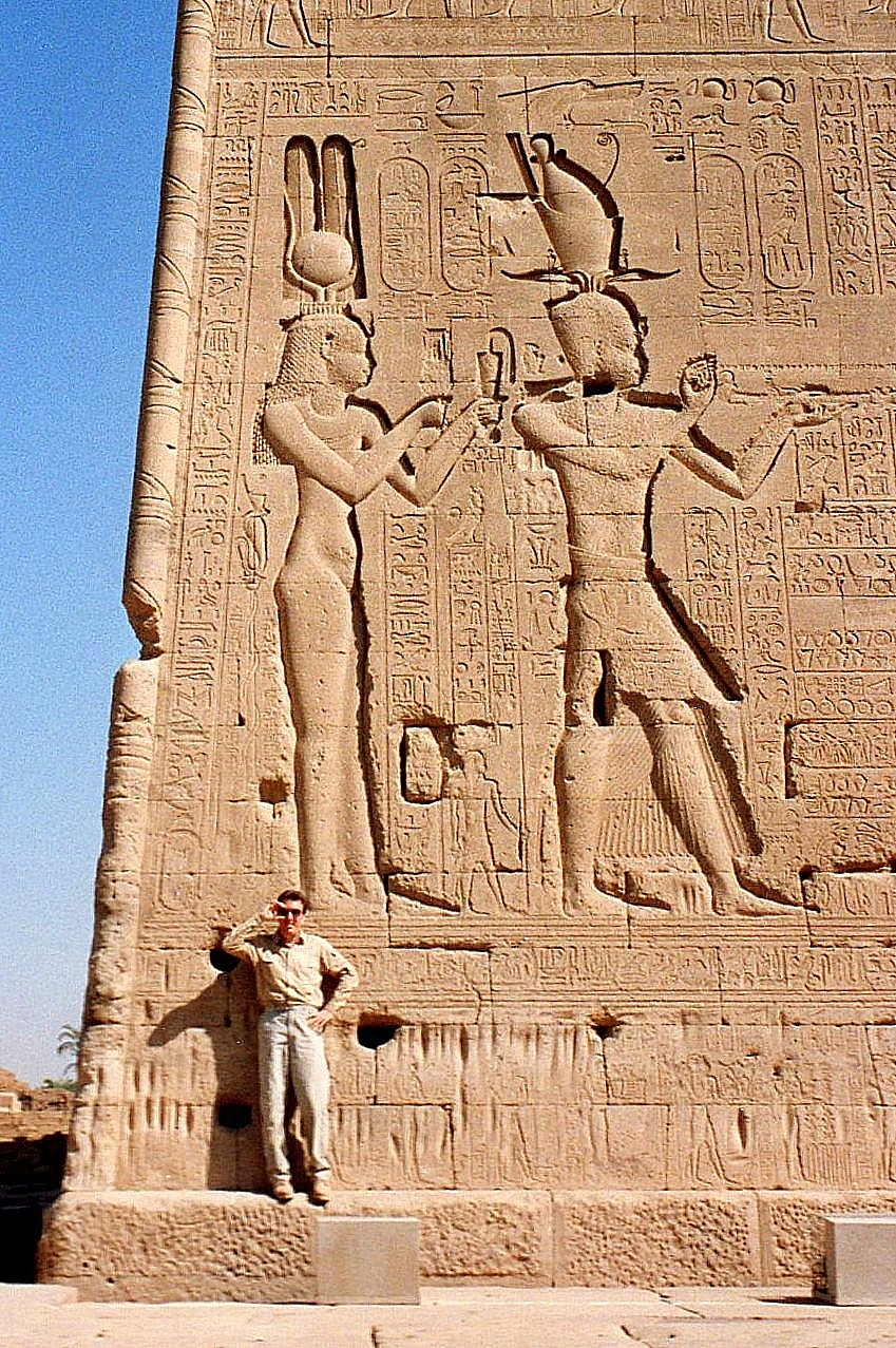 Kenneth posing with Cleopatra and Caesarion on the rear wall of the temple complex at Dendera