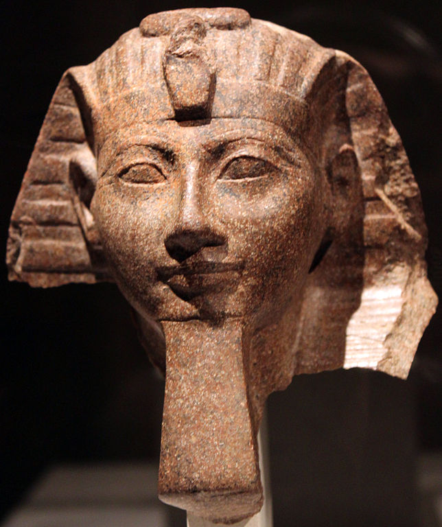 Because Hatshepsut presented herself as a male, Egyptologists can't tell whether this is a statue of her or of her co-king, Thutmose III