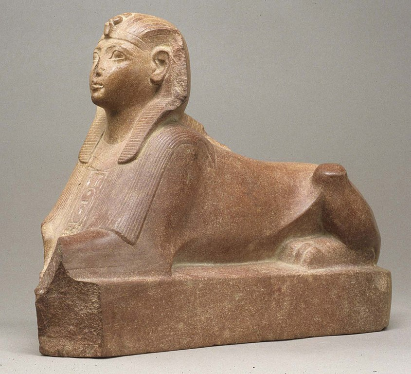 Riddle me this: Why did Thutmose III (seen here as a sphinx) wait so long for the smear campaign against his aunt and co-ruler?