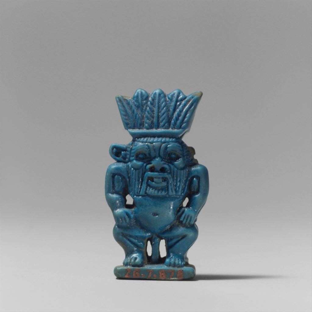 Bes was a popular guardian deity, popping up on household items and amulets like this one