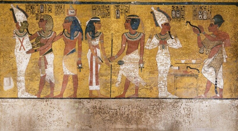 One of the few paintings in King Tut's tomb shows his righthand man and successor Ay performing priestly duties to help the pharaoh journey through the afterlife