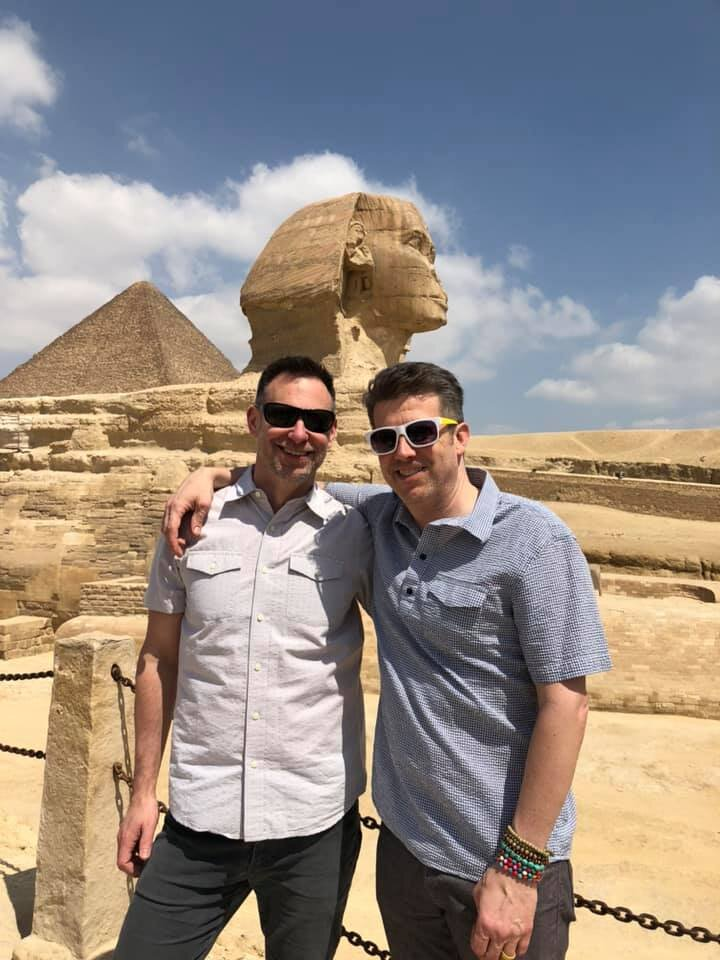 Duke and Wally at the Sphinx. Egypt is an amazing country, and gays shouldn't be scared off from visiting. They might want to butch it up a bit, though