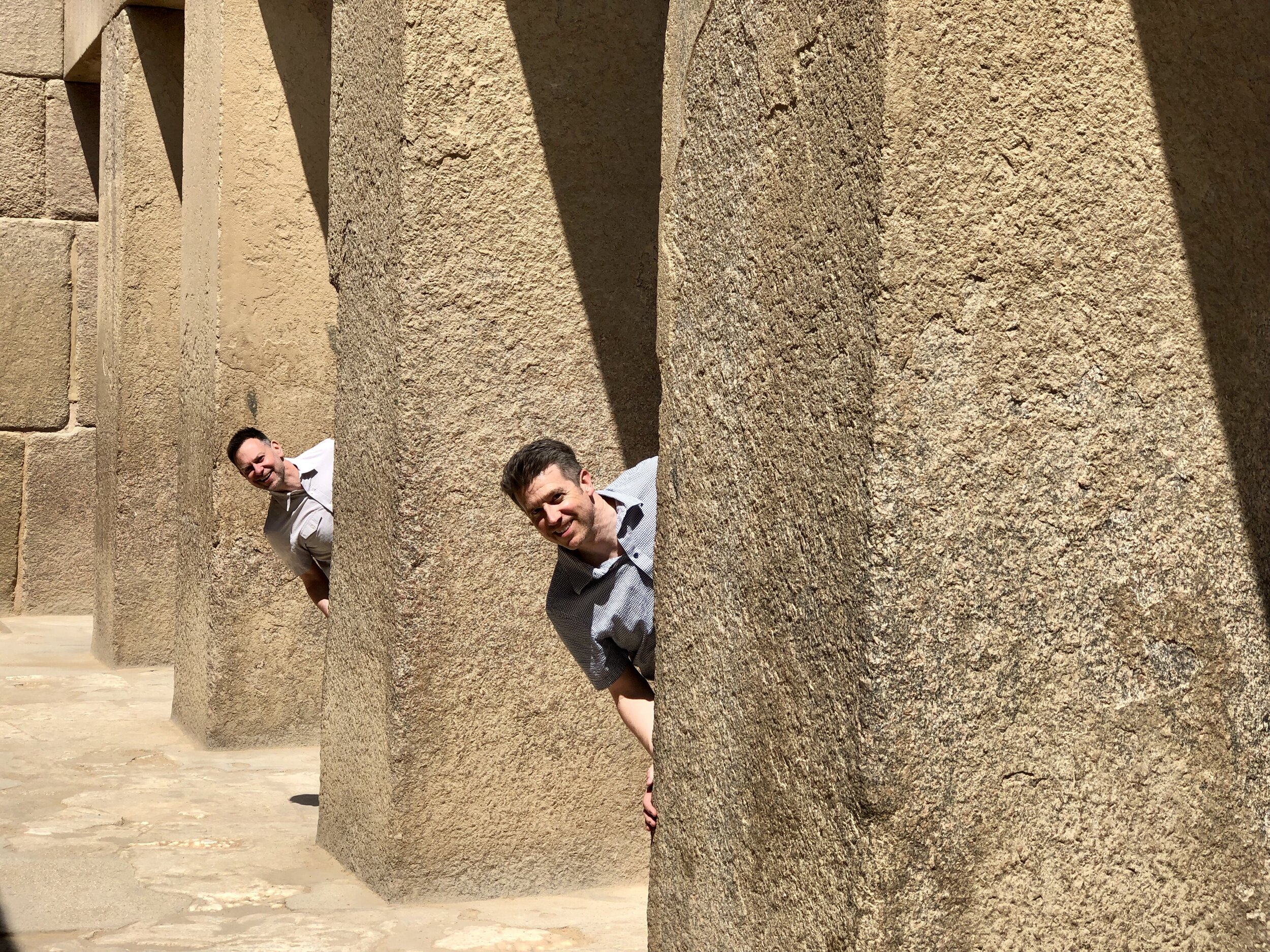 Duke and Wally peek out from the columns in the open-air Temple of Khafre