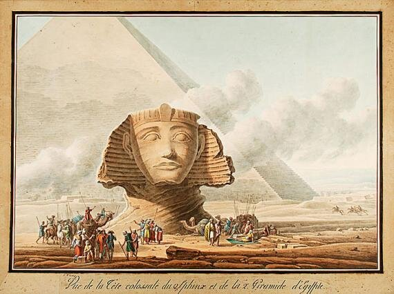 Whose head is that on the Sphinx, seen here in a 1790 illustration by Louis Francois Cassas?