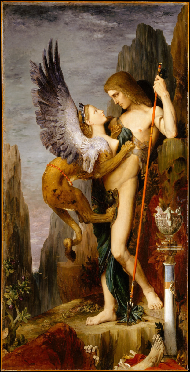 Oedipus and the Sphinx  by Gustave Moreau, 1864. She doesn't look too fierce — but look at the corpse at the bottom of the painting