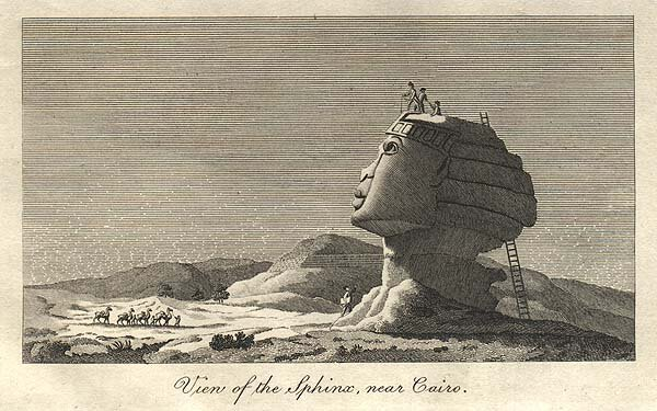 A historic illustration of he Sphinx. We wish we could climb a ladder onto its head!