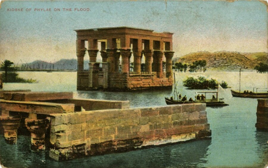 For four months of the year, Philae Temple and its nearby buildings, like the Kiosk of Trajan, sat underwater. The temple has since been relocated to a different, and drier, island