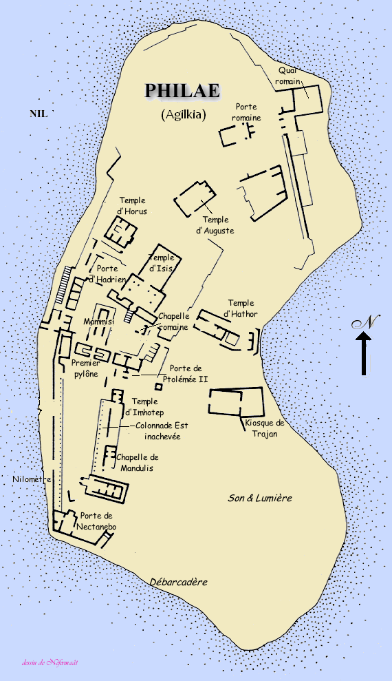 A map of the Philae complex on Agilkia Island (even though it's in French, you should still be able to decipher it