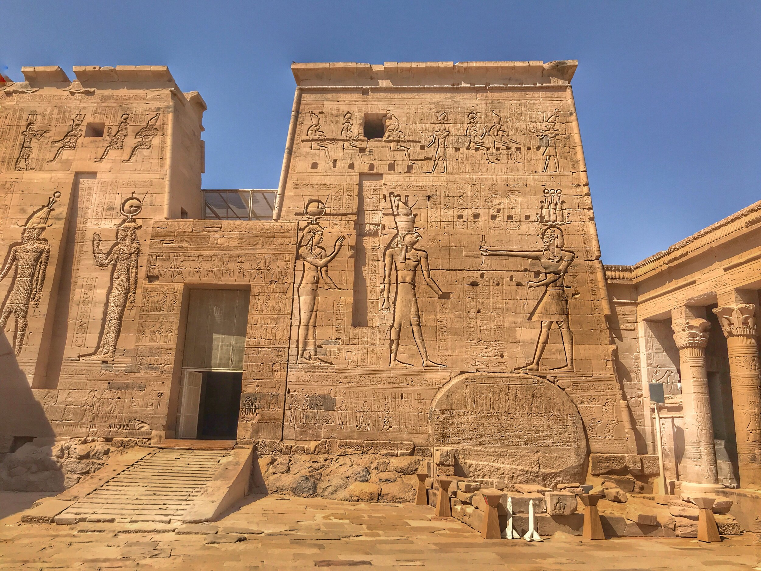 The first pylon, or entrance tower, at Philae Temple