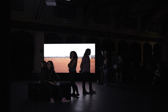 Far From Here, 2016, Four channel video installation with four channel sound. (Installation View) Meat Market. Image Zan Wimberley