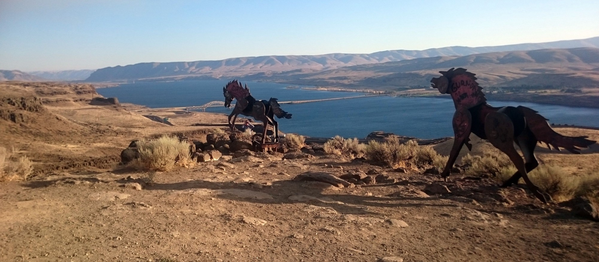 Steel ponies overlooking the Columbia River Gorge