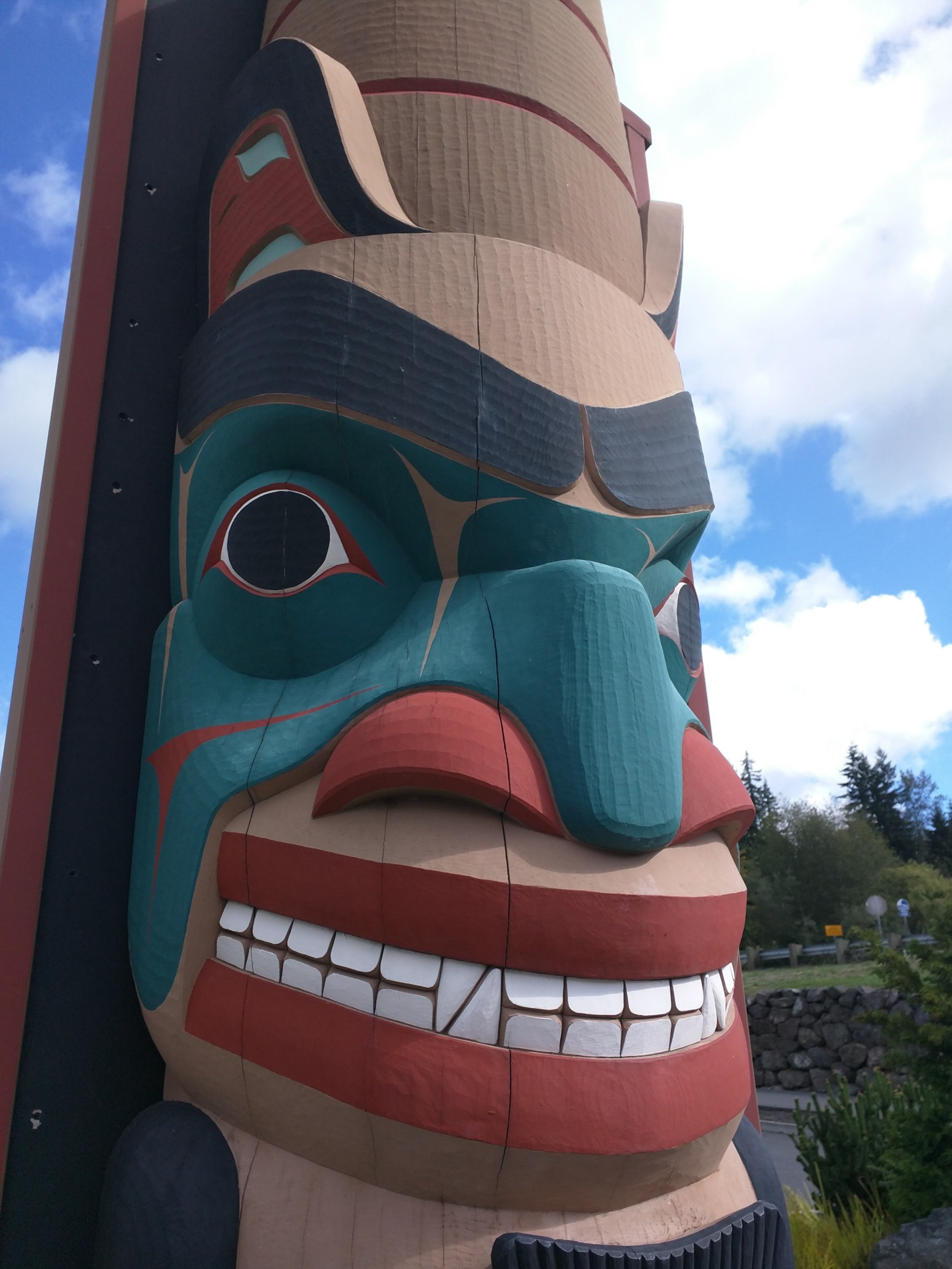 Photo taken of Bear totem at a rest stop along Highway 101 in the city of Blyn