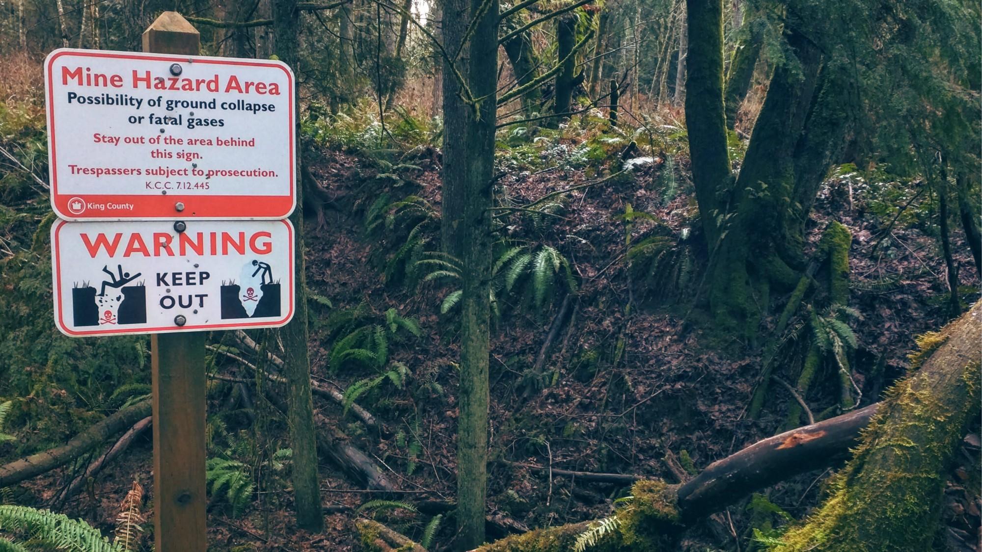 Mine hole hazard area