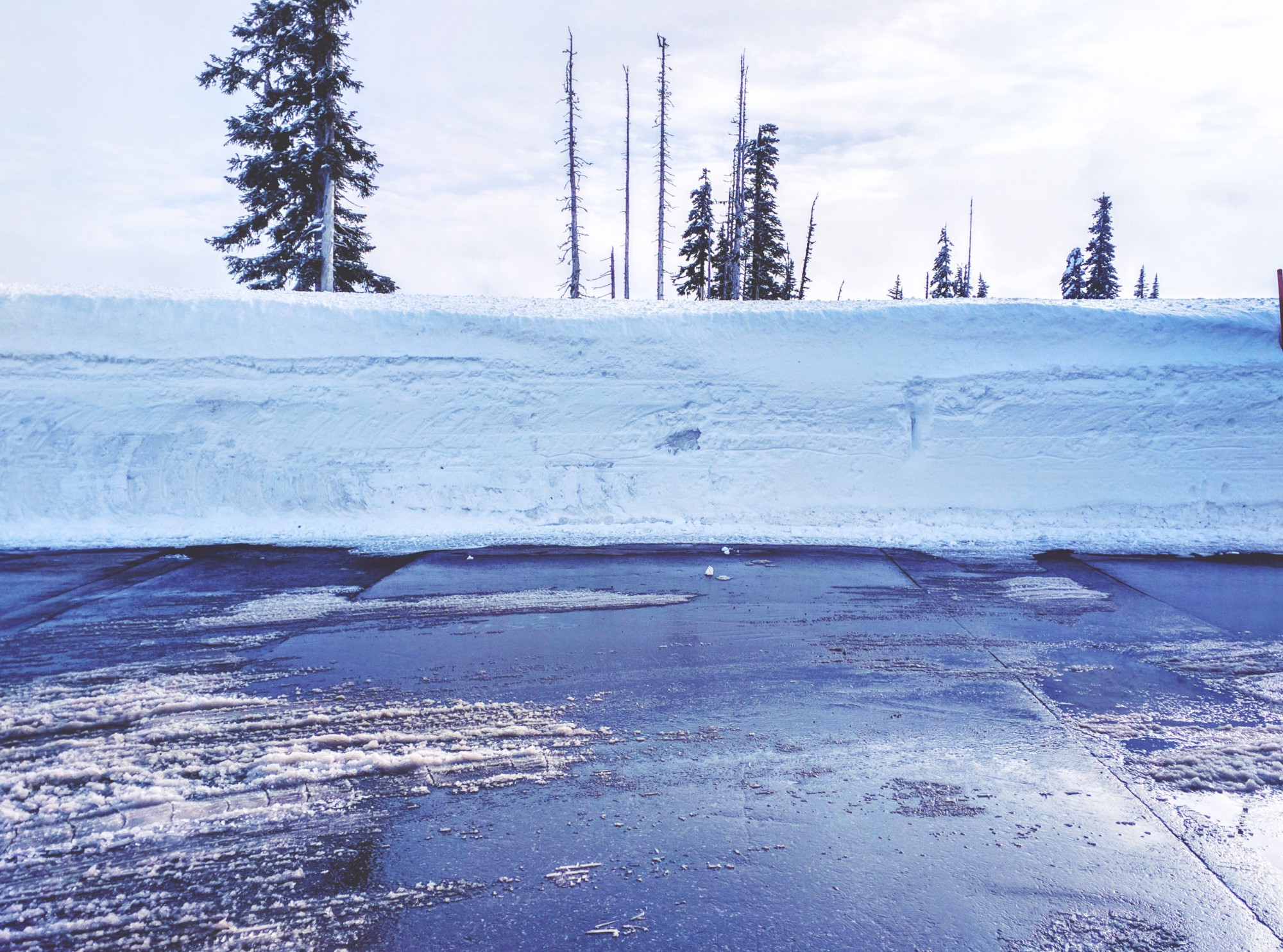 Height of the plowed snow on side of road