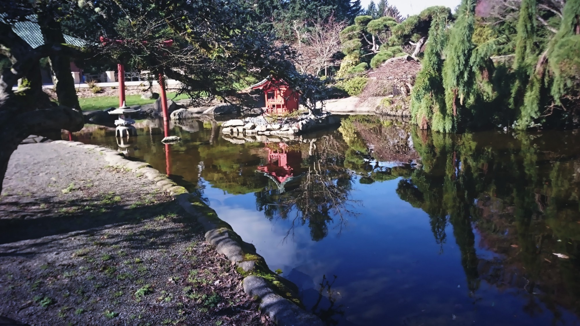 Pagoda and reflection in Japanese Garden.