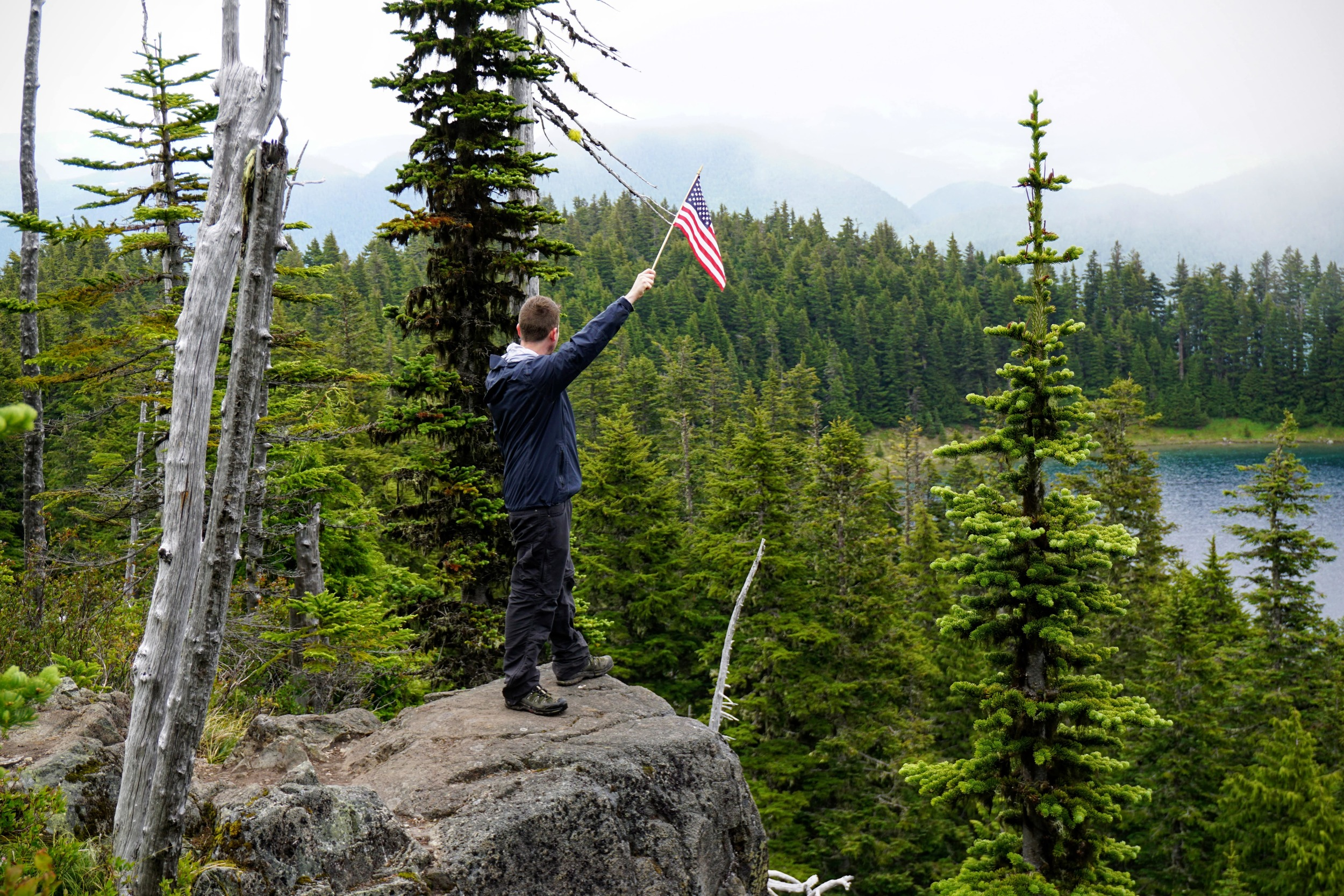 American Flag High Above Summit Lake