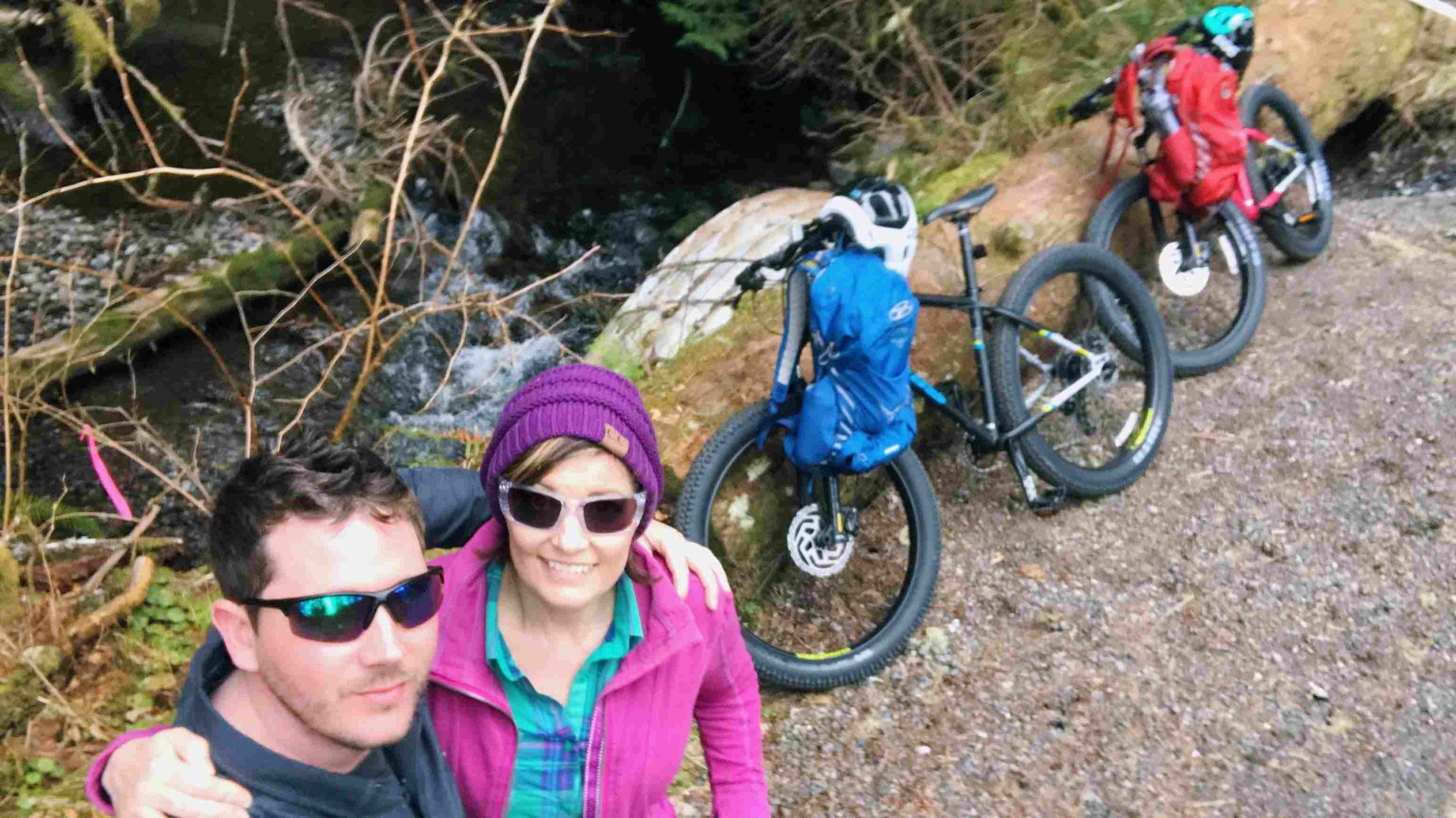 Our Jamis Bikes on Carbon River Road. Sorry about the blurry photo :-p