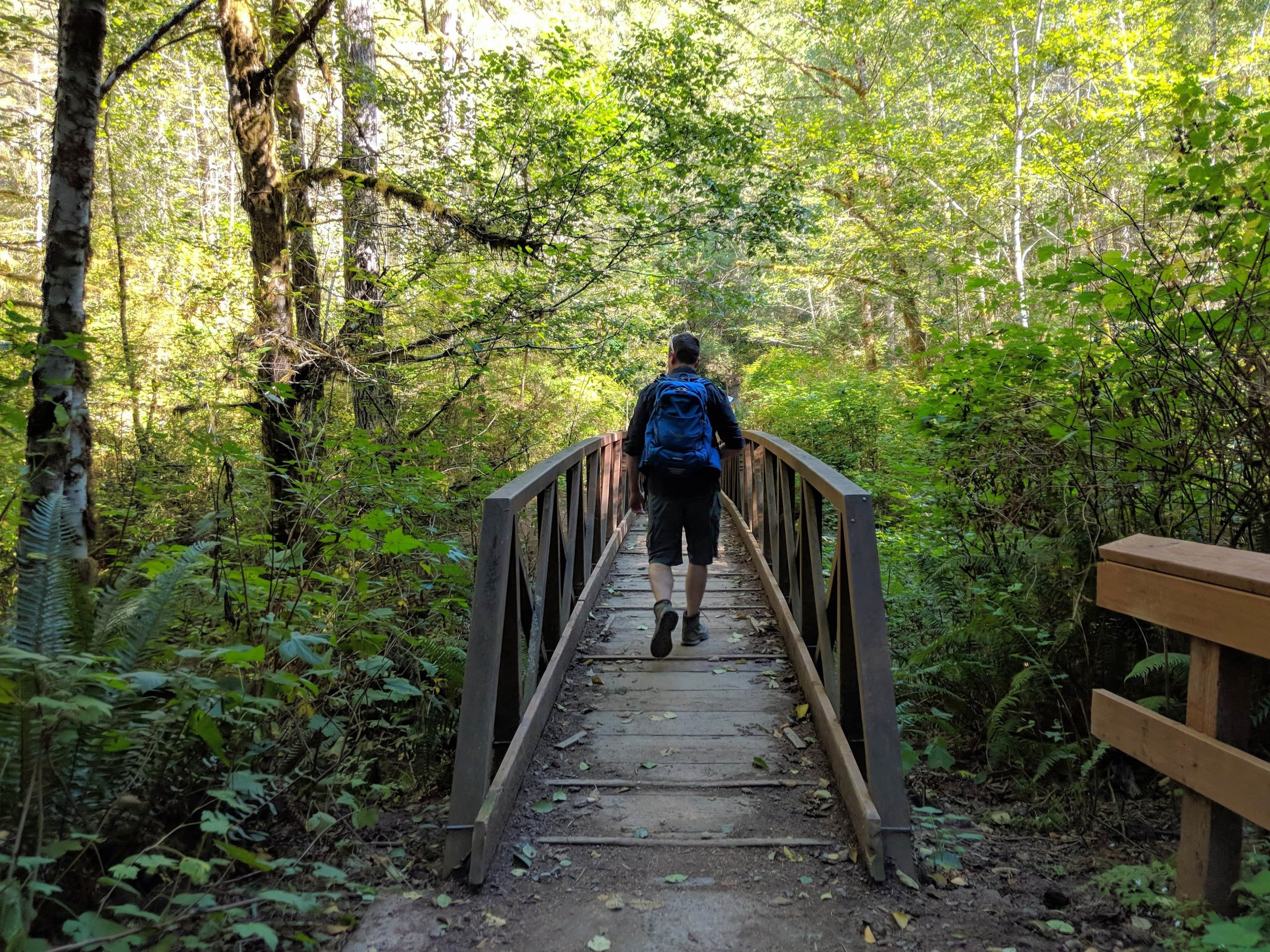 Crossing a bridge on Gold Creek Trail