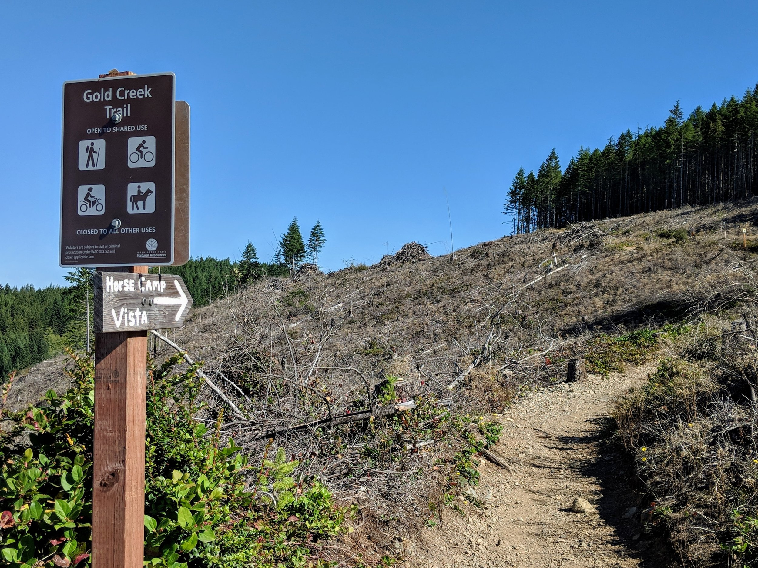 Trail signage on Gold Creek Trail