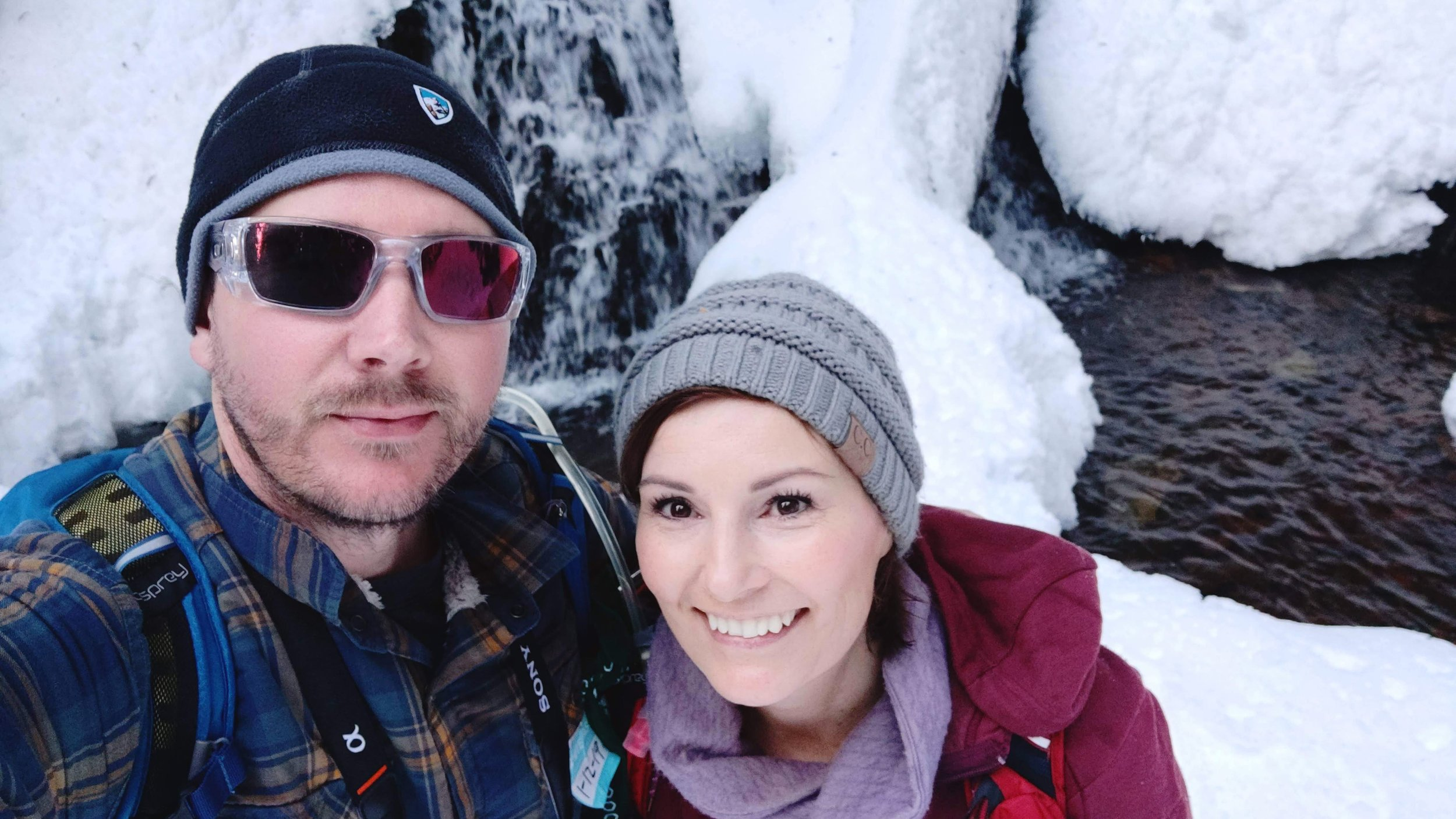 Falls at the end of the snowshoe trail