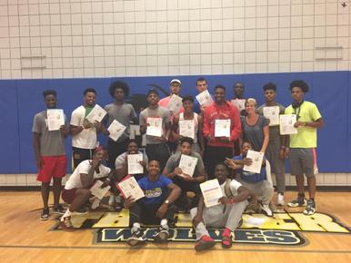 Regional Director Natalie and the Niagara County Community College basketball team.