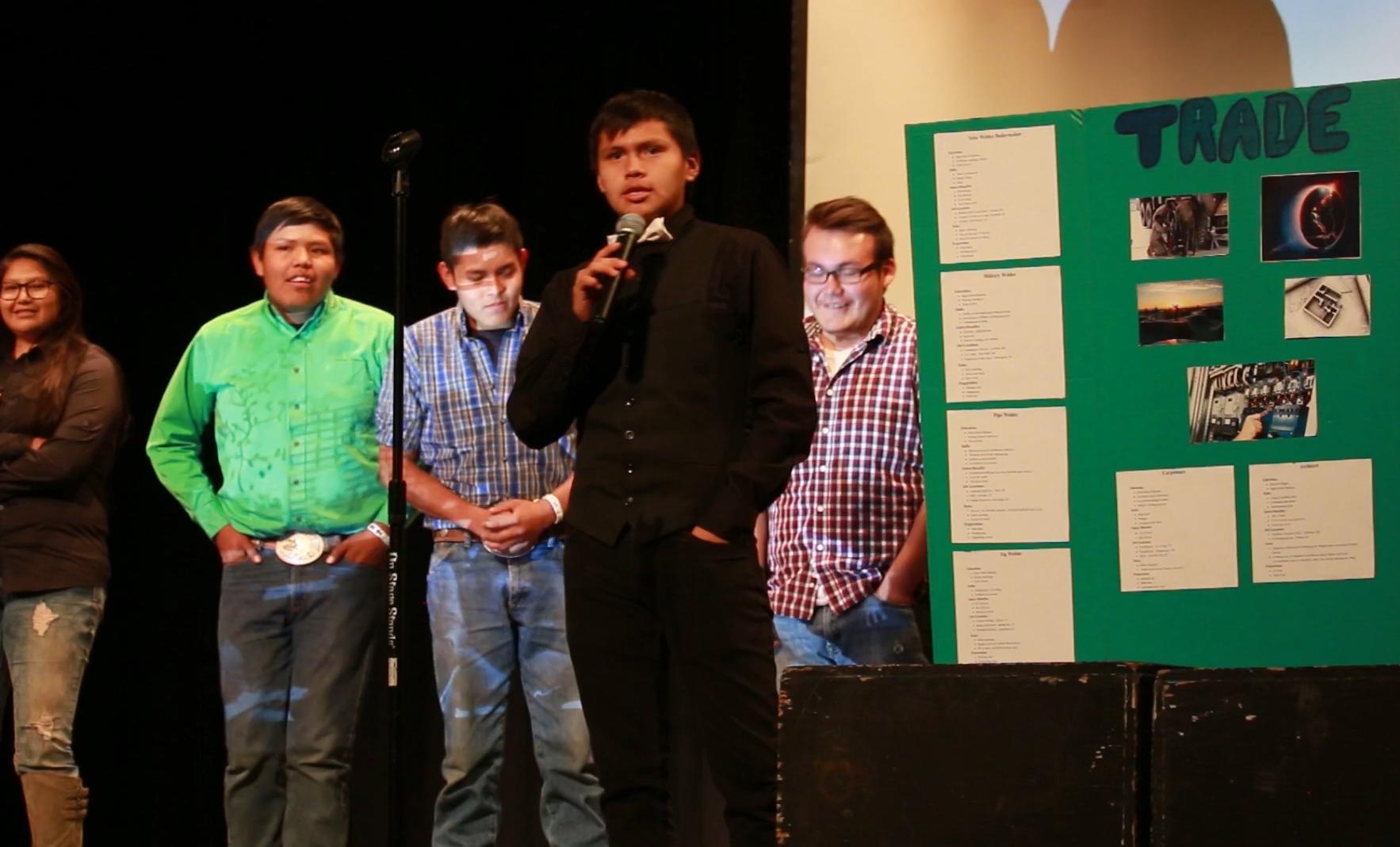 Student at Whitehorse HS in Montezuma Creek, UT presenting his career goals at the school's Indigo Freshman Day.