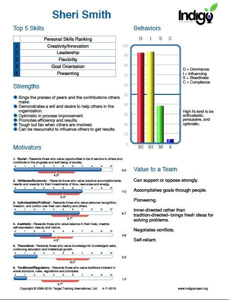 Example Indigo Assessment Summary Page.