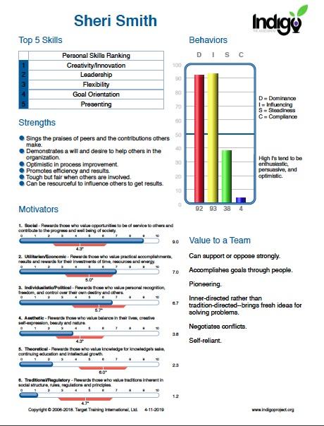 Example Indigo Assessment Summary Page.