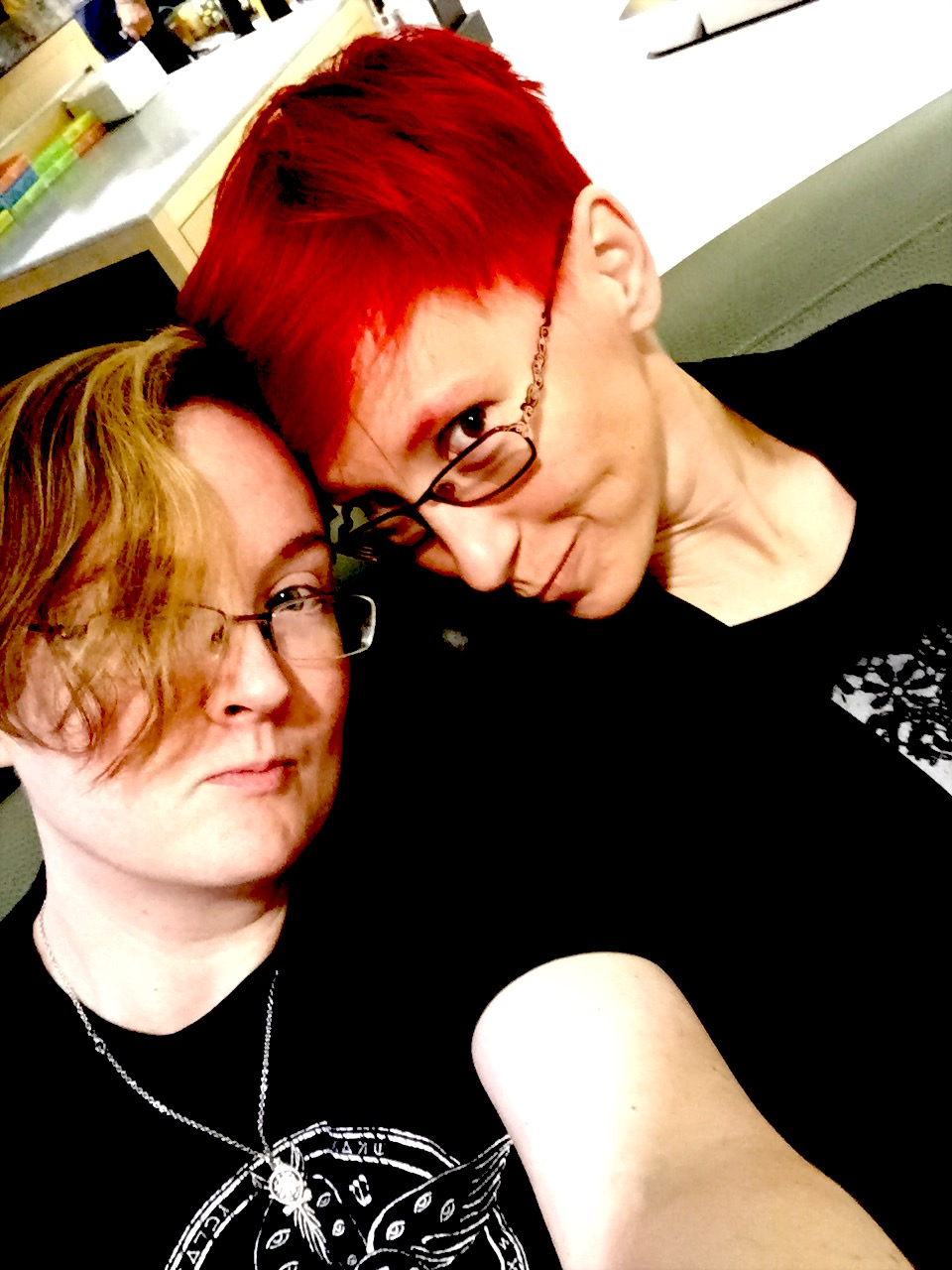 I'm the one with red hair, in case you couldn't tell. If Michelle's gender confuses you, don't worry --  you're not alone !
