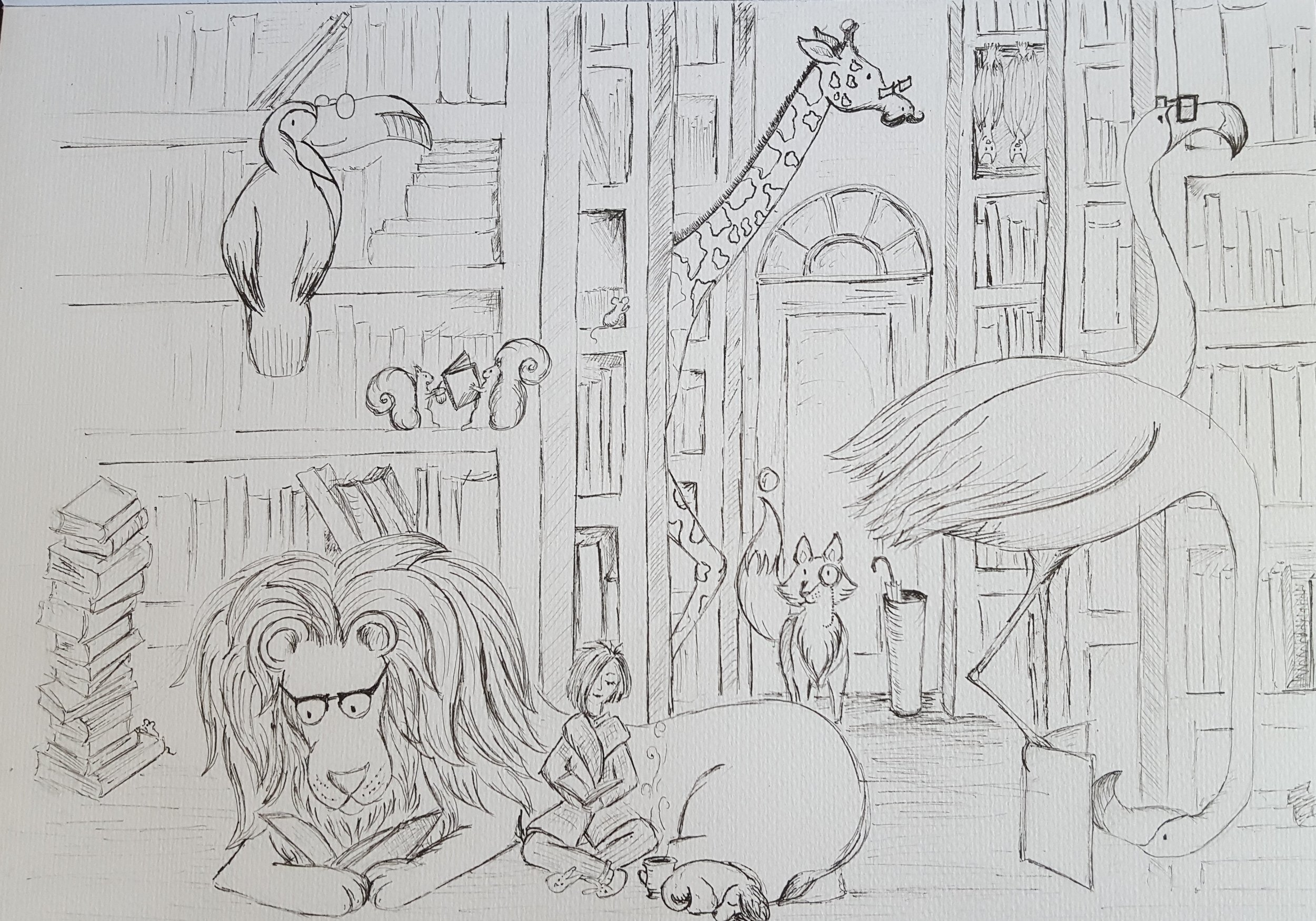 """The initial sketch for """"The Magical Bookshop"""". I was, and am, quite excited about this idea.There will be more to come following the same theme - Watch this space :-)"""