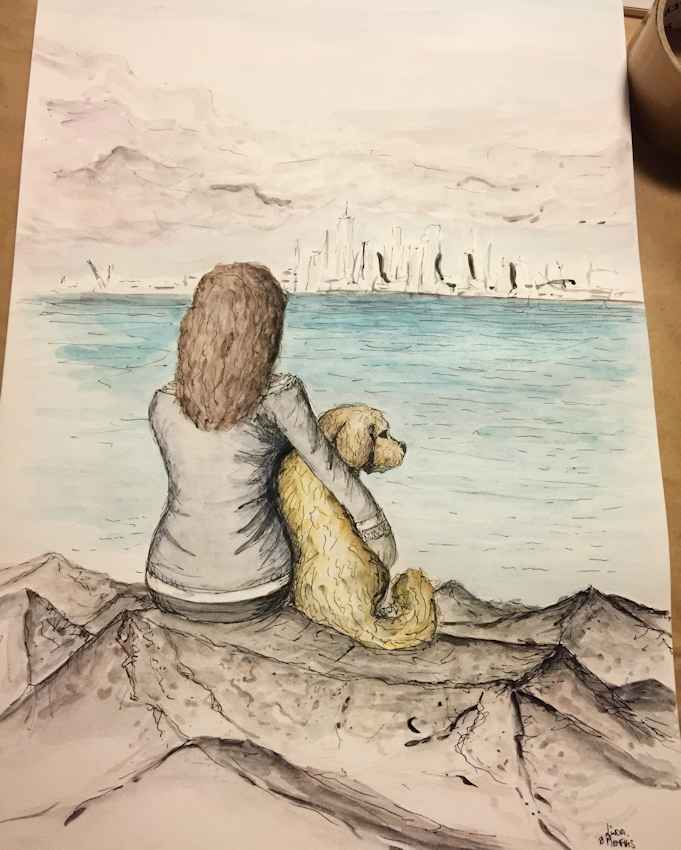 Linda & Memphis -  Linda wanted a special piece created from one of her favourite photos of her and her Cavoodle Memphis. They love hanging out at this spot in Williamstown, here in Melbourne, near the water. I created a loose interpretation of her photo and created the final image on A3 acrylic paper using watercolour and ink.