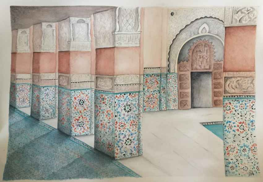Moroccan Painting -  This was a piece that I created for my cousins 30th Birthday. His parents wanted a picture that would reflect his love of travelling and we had been fortunate to visit Morocco 6 years ago together. I chose to create this painting from a photo I had taken of the Ben Youssef Madrasa in Marrakesh – it's a truly incredible building with beautiful ornate tiling and intricate stonework.  The original piece is on a full sheet of Arches hot pressed rough textured paper, which was beautiful to work on. I drew the foundation of the painting with pencil, then coloured in gouache and watercolour and then added detailing in ink over the top.