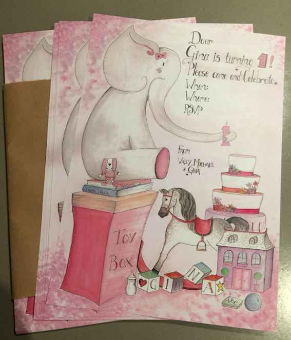 Birthday Invitation -  This was a lovely project to create a birthday invitation for little lady turning one! Her mother gave me some tips on her favourite objects and her special little rabbit toy and I included them into the drawings. The original was created on A3 sized paper, with Ink and gouache and the final printed invitation was shrunk down to a custom size between A4 and A5 on glossy paper.