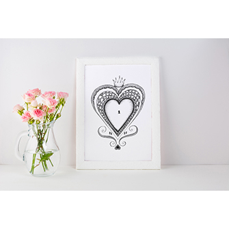 Heart black and white print with roses