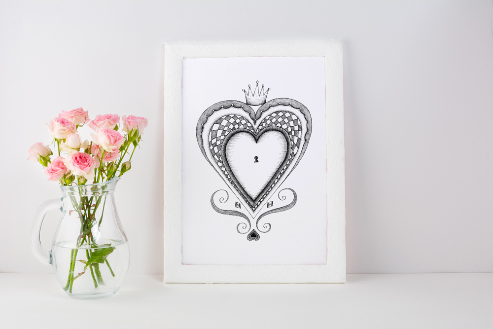 Heart-black-and-white-framed-print-with-pink-roses.jpg