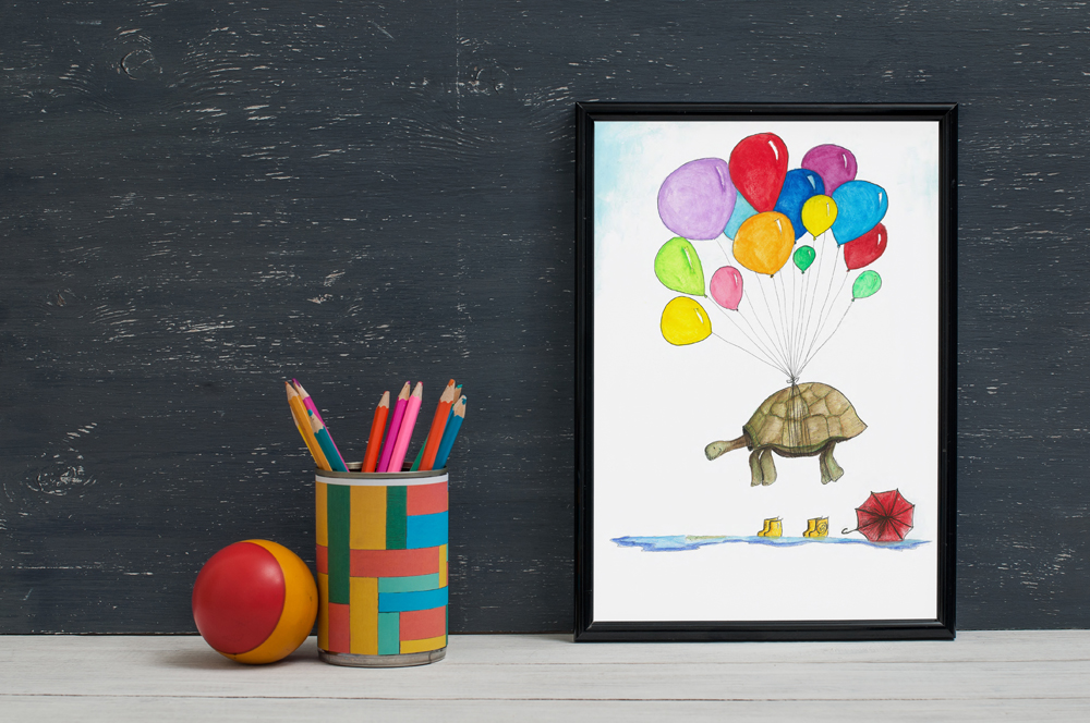 Mr toroise with balloons childrens decor wall art print