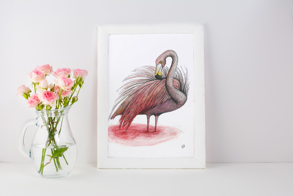 Flamingo animal childrens decor wall art print