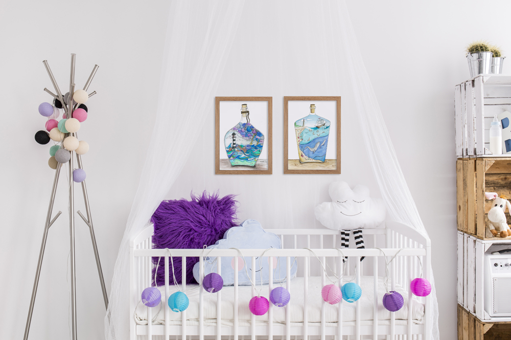 magical bottles decor wall art print