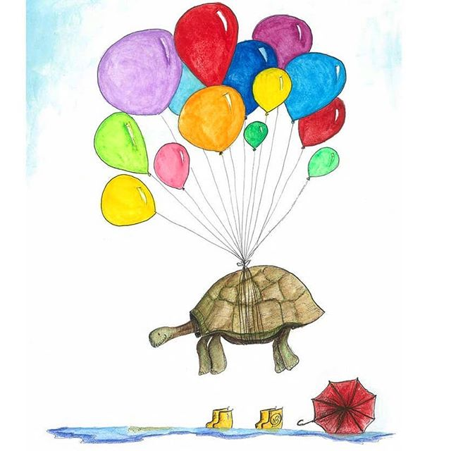 Mr Tortoise, one of our early pieces and still one of most popular images for cards and prints 😍. This was drawn with the idea that when you least expect it,  life changes your situation. One minute you're trudging along in your gumboots in the rain, the next you're floating along happily with a heap of coloured balloons 🎈🎈🎈 The original was created with ink and prismacolour water colour pencils on A3 acrylic paper.