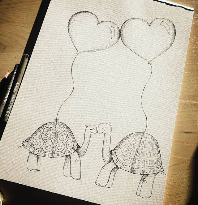 Getting started on a new round of artwork! This image actually came from an envelope art doodle of two kissing tortoises I'd drawn that I thought was a cute idea.. and who doesn't love a bit of Monday morning love 💕🥰🥰🥰💕..