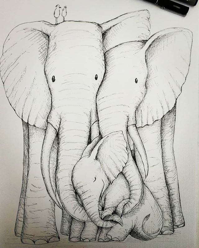 Elephant family ❤️ 🐘🐘🐘 Still a bit of work to go, but this is just a sneak peak of one of the new designs i've been working away on! I realised that I had no artwork of any type of family, and because there's lots of different types and sizes of family, it's a theme I'll keep on adding too ❤️😍